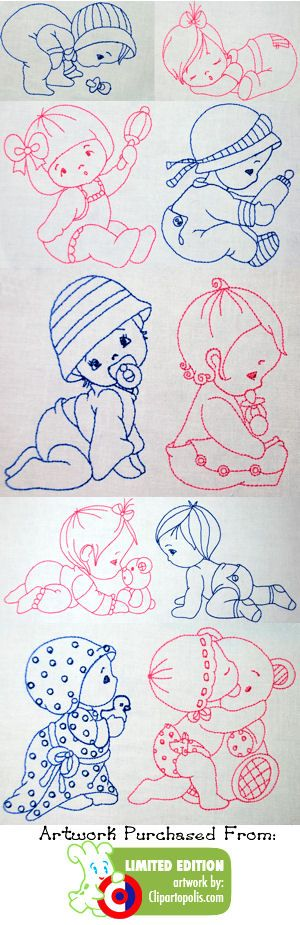 cute babies to embroider #embroidery #embroidered #baby #infant #boy #girl: