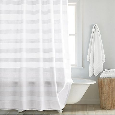 Dkny Highline Stripe Shower Curtain With Images White Shower Curtain Bathroom Striped Shower Curtains White Shower Curtain