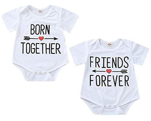 Zhenialy Baby Kleidung Born Together And Friends Forever Doppelpack Neugeborene Strampler Body Fur Zwillinge Jungen Madchen 2er Pa In 2020 Baby Party Baby Onesies Baby