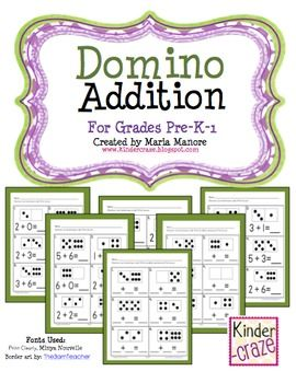 Set of 6 worksheets that use dominoes as a model for addition