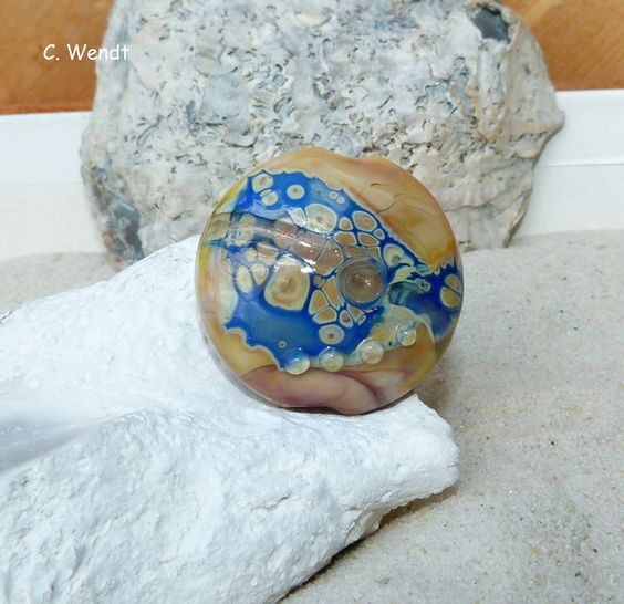 Glasperlenschmuck - Handgewickelte Glasperle - Linse mit Rand - - ein…