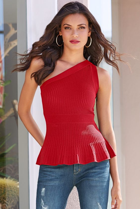 Trending | Women's One Shoulder Ribbed Peplum Sweater.