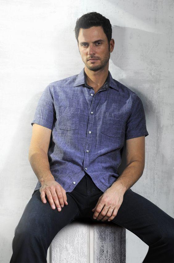 Sorrento Tencel Blend Shirt - Bright Grape  Houston Denim - Ink