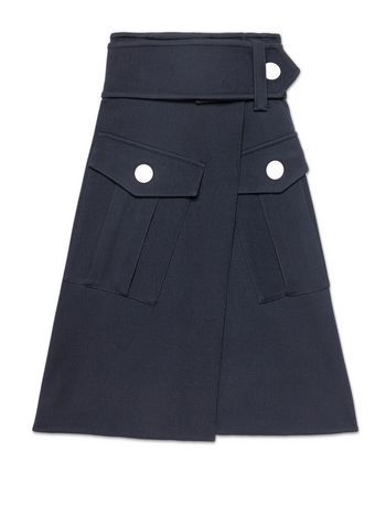 Runway skirt in wool gabardine