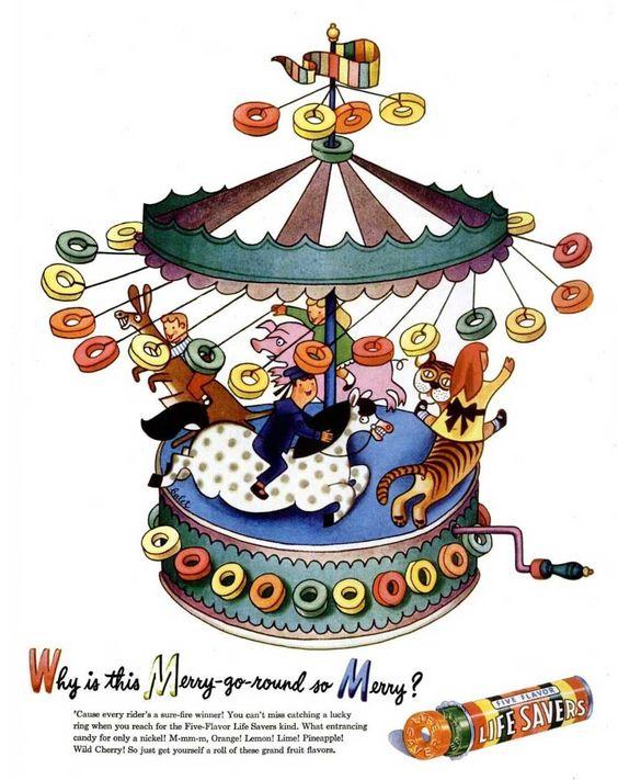 Brilliant print ad for Life Savers.  Illustration by Jan Balet