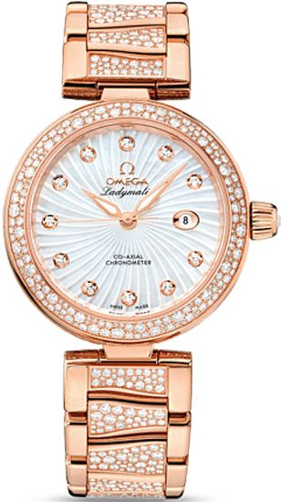 NEW OMEGA DEVILLE LADYMATIC LADIES WATCH - White Mother of Pearl Diamond Dial - Diamonds Set on Bezel