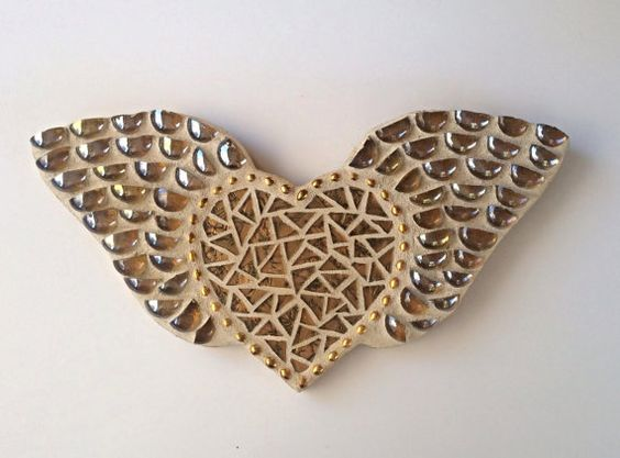 Gold Angel Wings Mosaic Wall Hanging by Heart2HeartMosaics on Etsy #heartmosaic  | Heart Mosaic | Mosaic Heart | #heartmosaic #heart2heart heart mosaics,