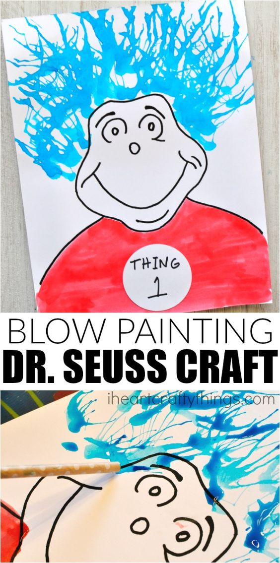 Thing 1 and 2 blow painting dr seuss craft dr seuss for Dr seuss crafts for preschool