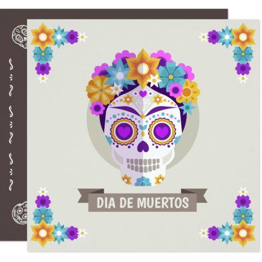 Simple Dia De Los Muertos Floral Skull Invitation Zazzle Com