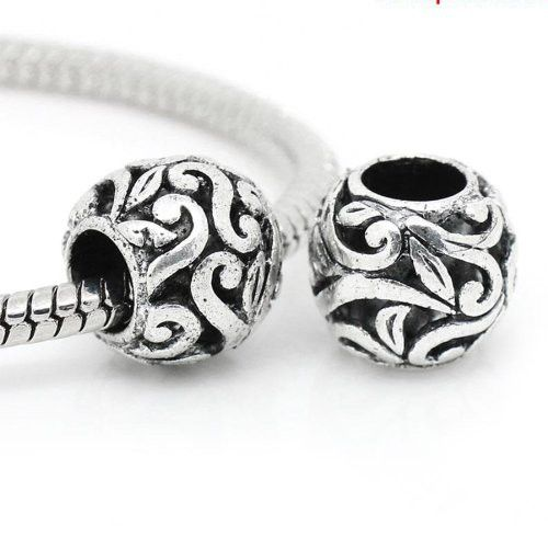 Flower Pattern Charm Spacer European Bead Compatible for Most European Snake Chain Bracelets