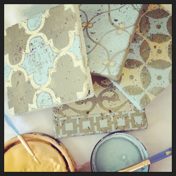 Decorative Tile Paint Annie Sloan Stockist Peinture Used The Mediterranean Tile Set From