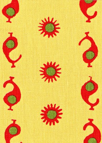 "Pattern: Casablanca Style No: M-6528 Color: Sunburst/Cherry Red & Margarita Green Content: 100% Linen Width: 54"" Repeat: 4.25"" Vertical 7.75..."