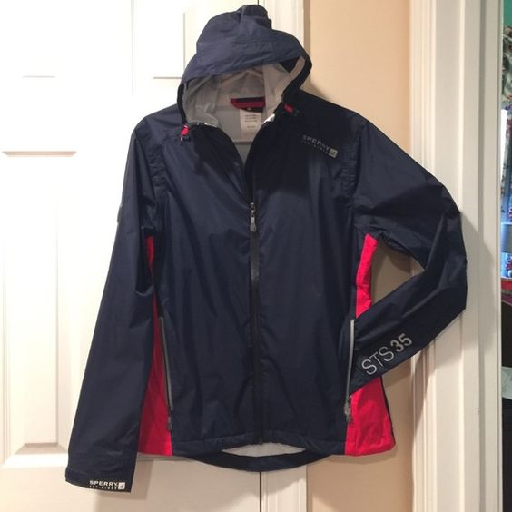 Sperry Navy Blue Rain Jacket Windbreaker | D, Coats and Rain