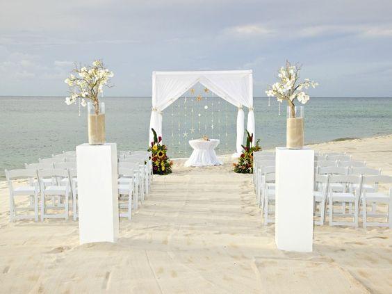 A sandy white beach.