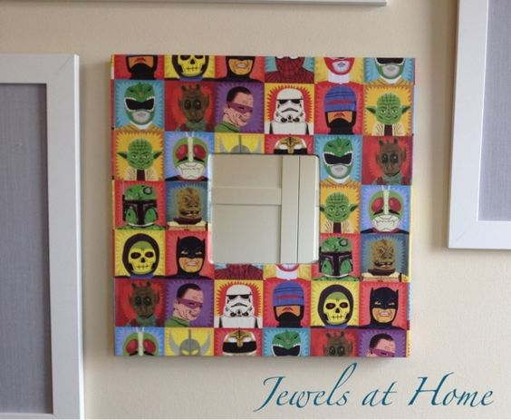 Love this for boys room  Decorating an Ikea Malma mirror frame  Decoupage  with Heroes and Villains wrapping paper  Perfect for this vintage  comic themed. Decorating an Ikea Malma mirror frame  Decoupage with Heroes and