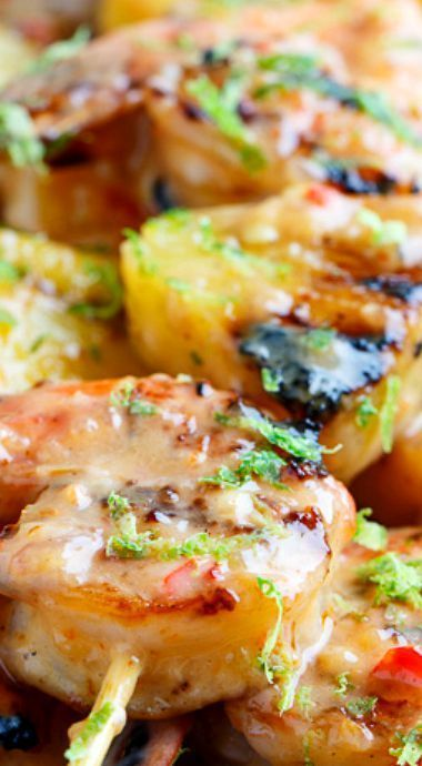 awesome Grilled Coconut and Pineapple Sweet Chili Shrimp