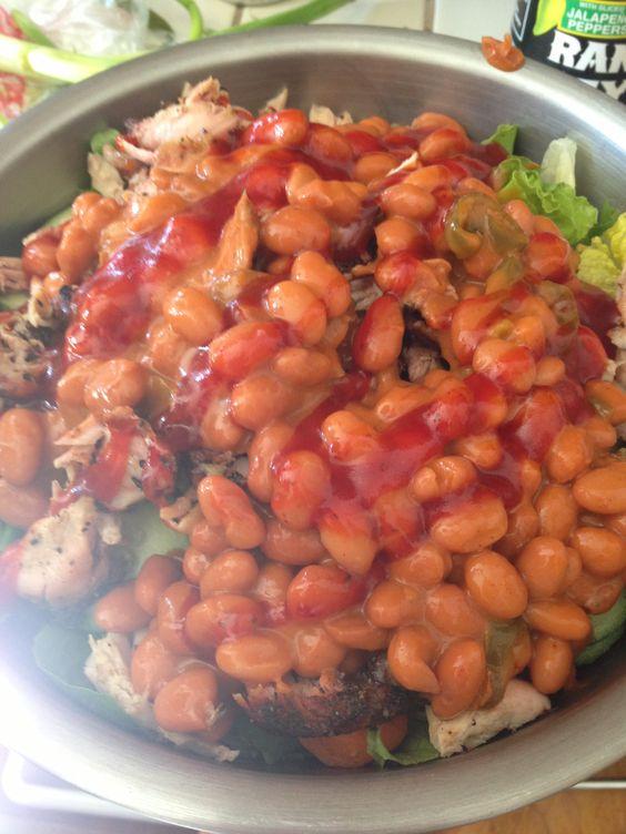Modern Arms Salad: Ranch Beans, BBQ Chicken, Green Onions, Russian Dressing. Mmmmmm