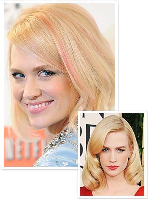 #JanuaryJones added pink highlights to her blond 'do! http://news.instyle.com/2012/03/14/january-jones-pink-highlights/