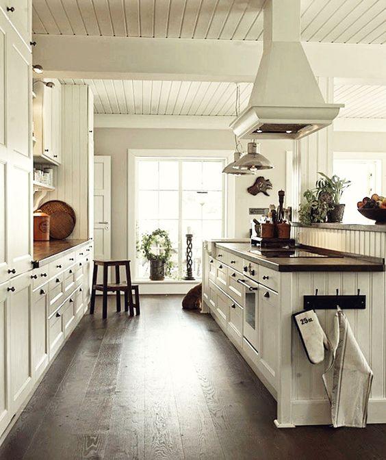 Interior Design Kitchen Wood: White Walls, Dark Counters And Floors On Pinterest