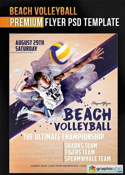 Beach Volleyball Flyer Psd Template Facebook Cover Free Download Volleyball Posters Education Poster Volleyball