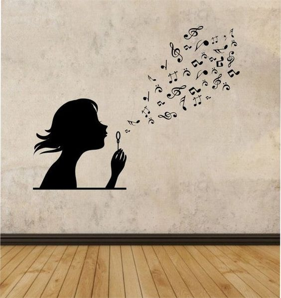 girl blowing music notes vinyl wall decal sticker art decor bedroom design mural interior design family
