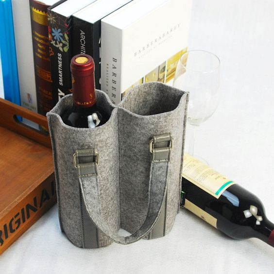 Felt Double Wine bag Wine set Fabric wine bag Household Storege shopping bag-Black-E641. $18.00, via Etsy.