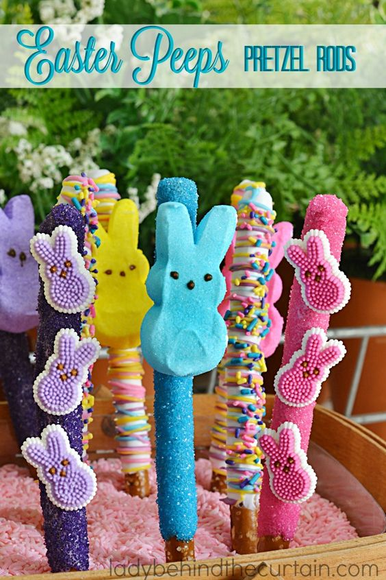 Easter Peeps Pretzel Rods |  Here's a treat that is easy to make, tasty and will add lots of fun to your kid's Easter Basket.