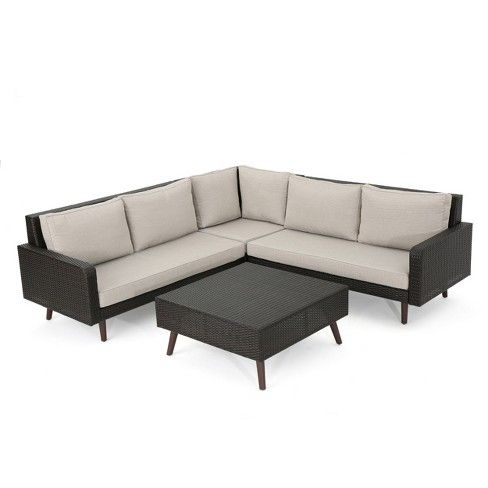 Tahiti 4pc Wicker Sofa Set Christopher Knight Home Target Outdoor Sectional Couch Wicker Sofa Outdoor Wicker Outdoor Sectional