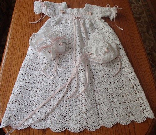 Baby Dress Crochet Pattern Victorian : Victorian Crocheted Baby Christening Gown, Dress, Hat, and ...