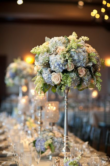 blue reception wedding flowers, wedding decor, wedding flower centerpiece, wedding flower arrangement, add pic source on comment and we will update it. www.myfloweraffair.com can create this beautiful wedding flower look.: