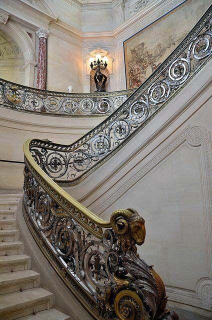 art nouveau escalier 39 b lier 39 m tal 2 tons ch teau de chantilly art nouveau. Black Bedroom Furniture Sets. Home Design Ideas