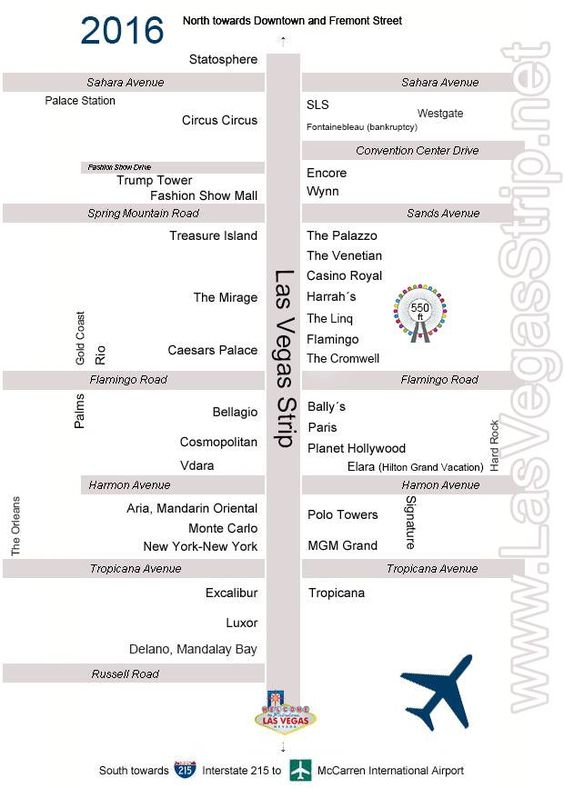 Las Vegas Strip Map 2016  Vacation Someday