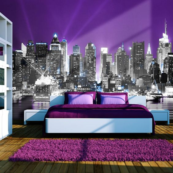 Chambre violet et gris new york recherche google for Decoration maison new york