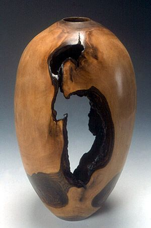 Artistic Wood Turnings | wood turnings: lathe-turned walnut hollow vessel with bark inclusions: