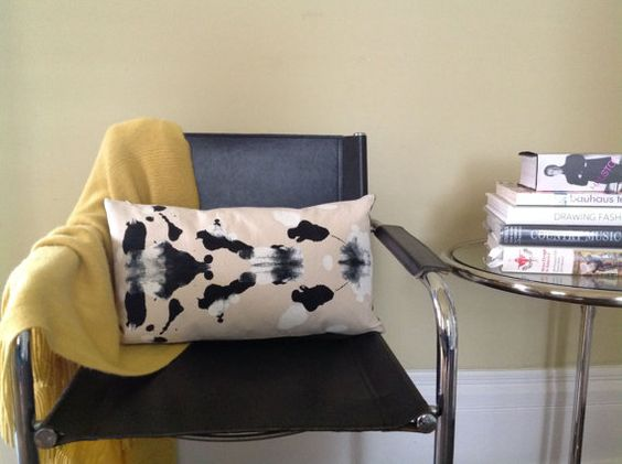 Ink Blot Hand Printed Cotton Duck and Linen Pillow by aubreyhyde, $45.00