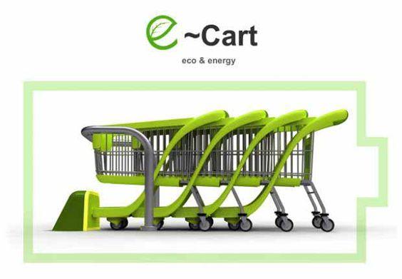 E-cart concepto de carro de supermercado que genera energía = Buen diseño