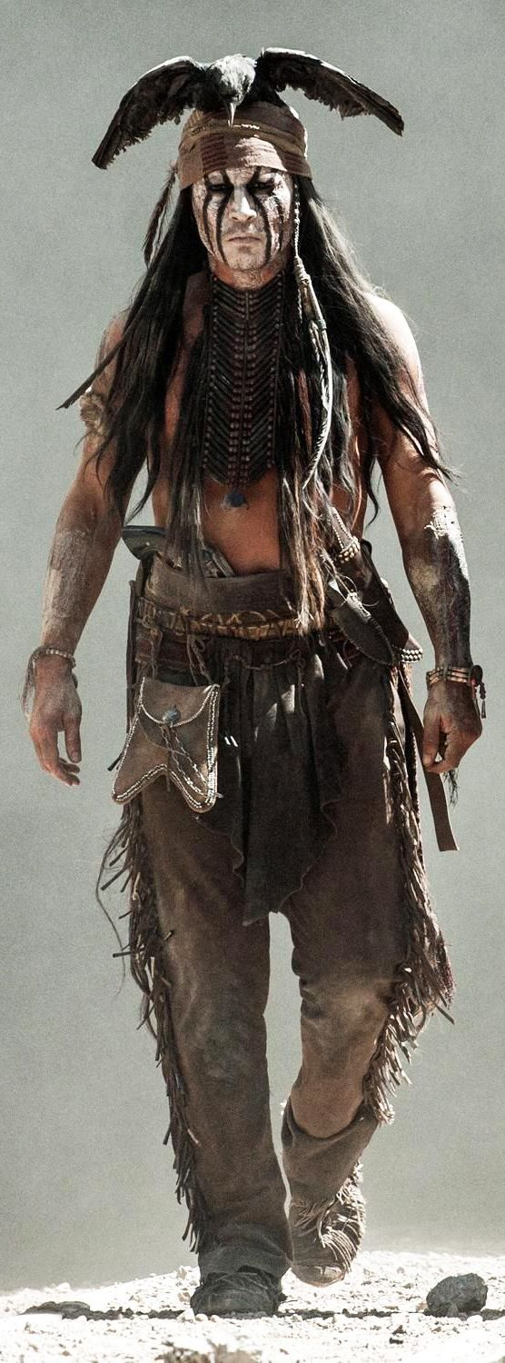Johnny Depp as Tonto in 'The Lone Ranger' (2013). Wow. Interesting interpretation of costume by Costume Designer: Penny Rose. I can't wait to see the movie and Johnny's version of Tonto.