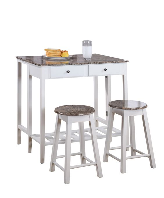 Pilaster Designs - 3 Pc. Kitchen Island Breakfast Bar Set Drop Down Table & 2 Stools & Drawers - White / Marble Finish