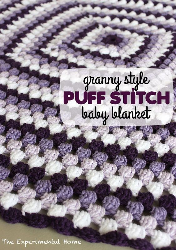 Puffy Crochet Baby Blanket Pattern : Crochet this granny-style puff stitch baby blanket with a ...