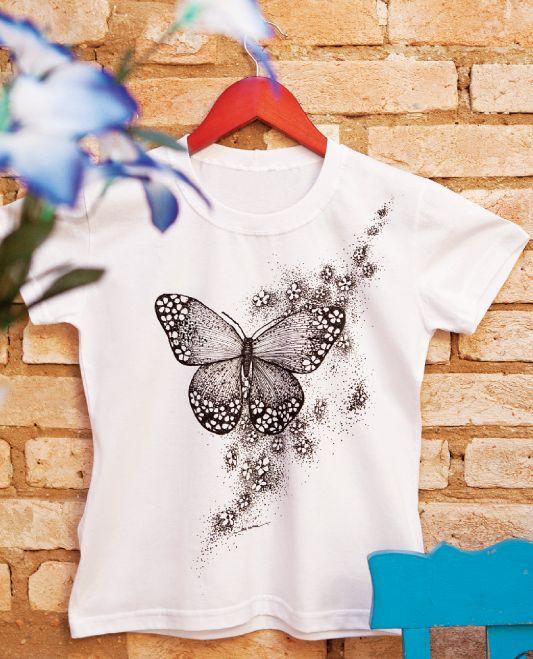 Camiseta com pintura pinturas pinterest shirts ems - Pintura para camisetas ...