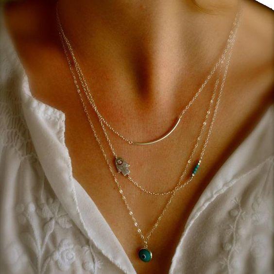 Elegante Halskette mit dem Auge der Fatima