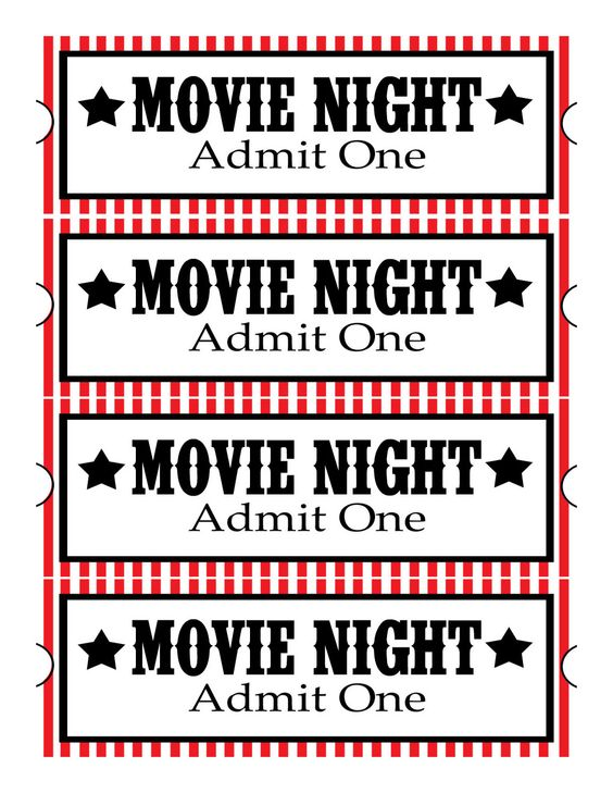 Free Printable Movie Tickets  Movie Ticket Template Free