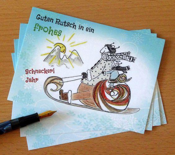 www.bilderbunt.info Schneckerl-POSTKARTE  *Guten Rutsch in ein frohes Schneckerl-Jahr*  -  42