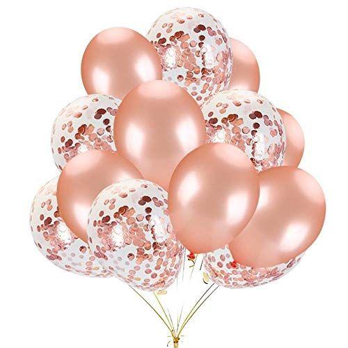 مجموعة بالونات زينة من 16 بالون لون وردي ذهبي من اللاتيكس مليئة بقصاصات ورقية ملونة لتزيين حفل Rose Gold Party Decor Rose Gold Balloons Rose Gold Confetti