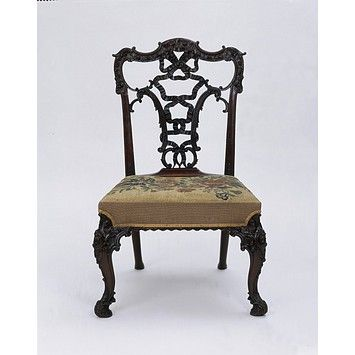 "Chair, Chippendale style in the ""French"" taste, or Ribband Back. Made 19th century however."