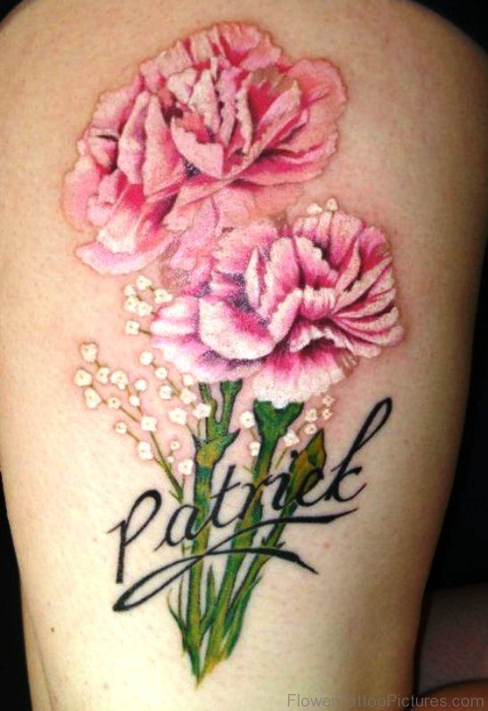 2 Pink Carnation Flower Tattoo Carnation Tattoo Carnation Flower Tattoo Flower Tattoo