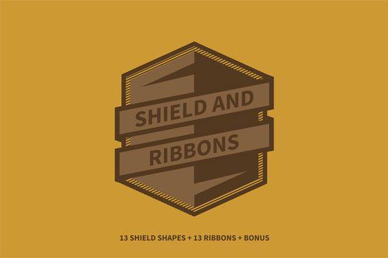 Shield and Ribbons by Degaburn on Creative Market