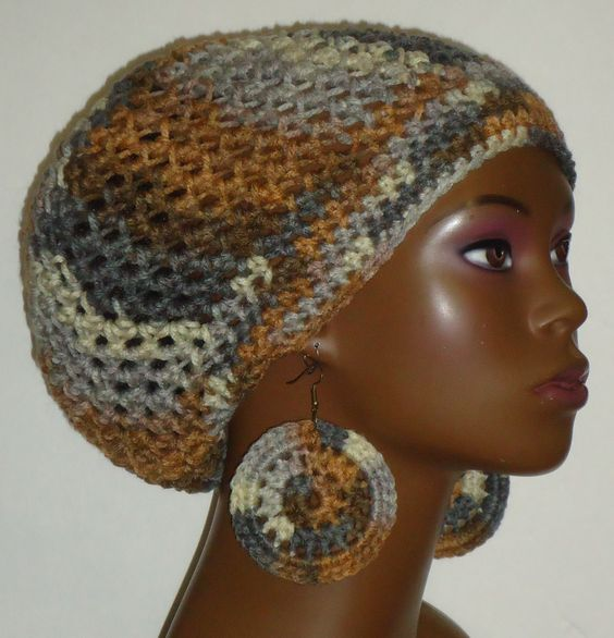Crochet Beret/Small Tam and Earrings by Razonda Lee