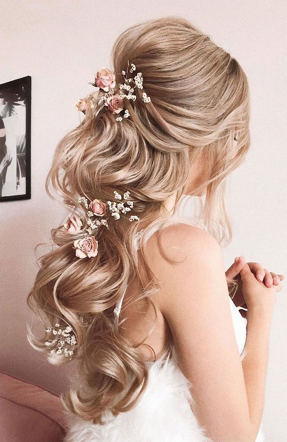 28 Captivating Half Up Half Down Wedding Hairstyles Romantic And Elegant Long Hair With Blush Floral Head Piece Hair Styles Half Up Hair Elegant Wedding Hair