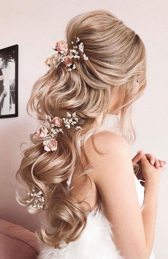 28 Captivating Half Up Half Down Wedding Hairstyles Romantic And Elegant Long Hair With Blush Floral Head Piece Hair Styles Half Up Hair Elegant Wedding Hair